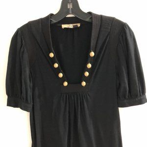 See by Chloe black minidress with gold buttons